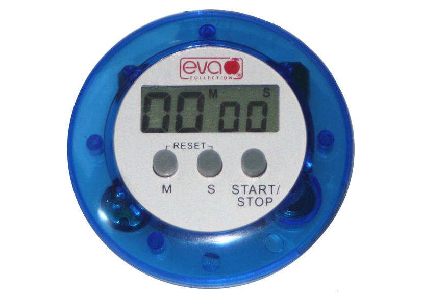 Timer Digitale Blu/Bianco 66x66x21mm Eva - Cod 04 39 06