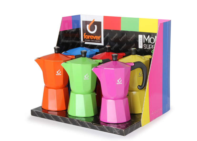 Miss Moka Super Colori 6tazze In Display - Cod 12 01 60