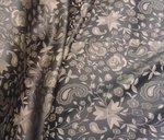 SATIN JACQUARD BROWN DESIGN FLOWERS/ CM 140